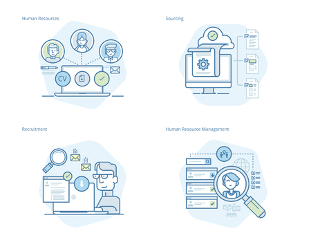 Set of concept line icons for human resources, recruitment, HR management, career. UIUX kit for web design, applications, mobile interface, infographics and print design. Illustration