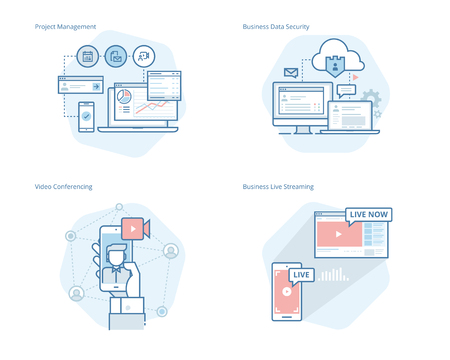Set of concept line icons for project management, business data security, video conferencing, business live streaming. UIUX kit for web design, applications, mobile interface, infographics and print design. Illustration