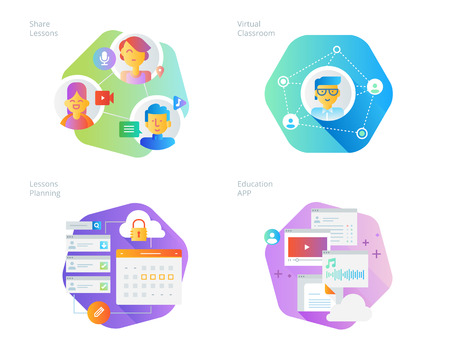 Material design icons set for online education, apps, virtual classroom, education network, lecture program for teachers. UIUX kit for web design, applications, mobile interface, infographics and print design.