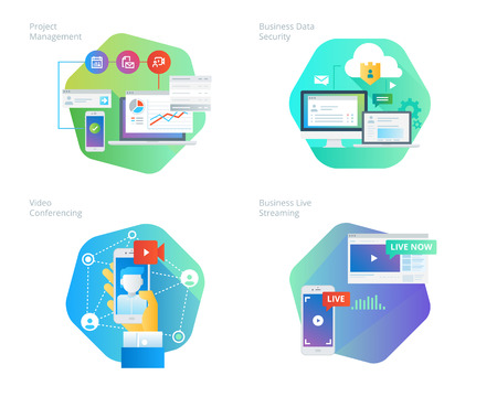 Material design icons set for project management, business data security, video conferencing, business live streaming. UIUX kit for web design, applications, mobile interface, infographics and print design.