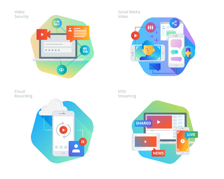 Material design icons set for social media video, cloud recording, VOD streaming, video security, online video streaming. UIUX kit for web design, applications, mobile interface, infographics and print design.