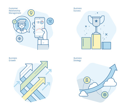 Set of concept line icons for CRM, business strategy, growth and success. UIUX kit for web design, applications, mobile interface, infographics and print design. Illustration