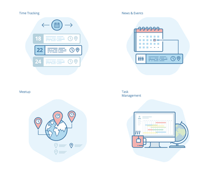 Set of concept line icons for time manager, news and events, meetup, task management, time tracking. UIUX kit for web design, applications, mobile interface, infographics and print design.