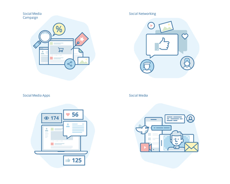 Set of concept line icons for social media, networking, marketing, campaign and apps. UIUX kit for web design, applications, mobile interface, infographics and print design.