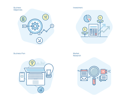 Set of concept line icons for business plan and objectives, market research, investment. UIUX kit for web design, applications, mobile interface, infographics and print design.