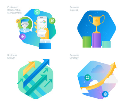 Material design icons set for CRM, business strategy, growth and success. UIUX kit for web design, applications, mobile interface, infographics and print design.