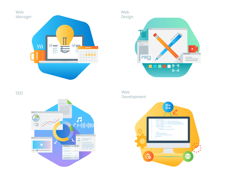 Material design icons set for web design and  development, SEO, web manager. UI/UX kit for web design, applications, mobile interface, infographics and print design. Ilustracja