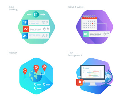 Material design icons set for time manager, news and events, meetup, task management, time tracking. UIUX kit for web design, applications, mobile interface, infographics and print design. Illustration