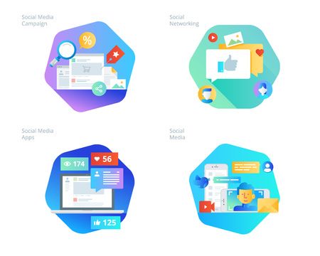 Material design icons set for social media, networking, marketing, campaign and apps. UIUX kit for web design, applications, mobile interface, infographics and print design. Illustration