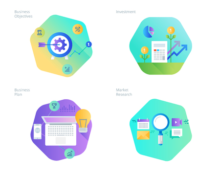 Material design icons set for business plan and objectives, market research, investment. UIUX kit for web design, applications, mobile interface, infographics and print design.