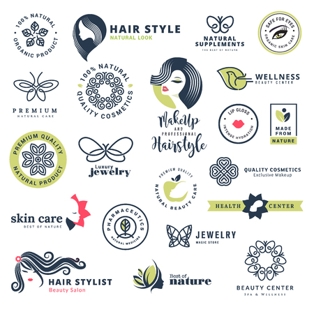 Premium quality beauty and nature icons. Set of vector illustration concepts of labels and stickers for cosmetics, healthcare, natural and organic products, wellness and spa, beauty salon, jewelry Illusztráció