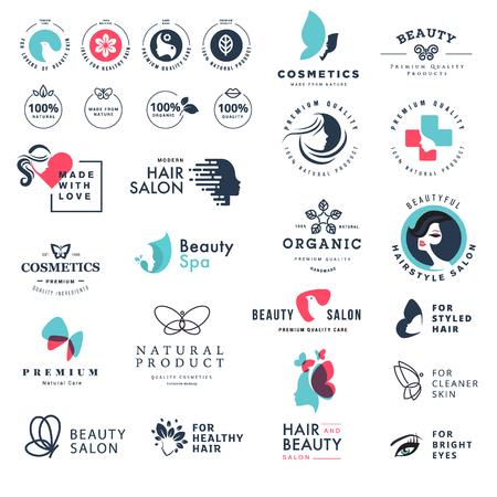 Iconos de belleza y naturaleza de calidad premium. Conjunto de conceptos de ilustración vectorial de etiquetas y pegatinas para cosméticos, cuidado de la salud, productos naturales y orgánicos, bienestar y spa, salón de belleza, joyería Foto de archivo - 82397583