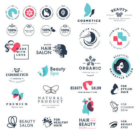 Premium quality beauty and nature icons. Set of vector illustration concepts of labels and stickers for cosmetics, healthcare, natural and organic products, wellness and spa, beauty salon, jewelry 向量圖像