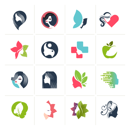 Set of flat design icons for  beauty, fashion, cosmetics, spa and wellness, healthcare and natural products. Vector illustrations for web and graphic design, marketing, product design. Illustration