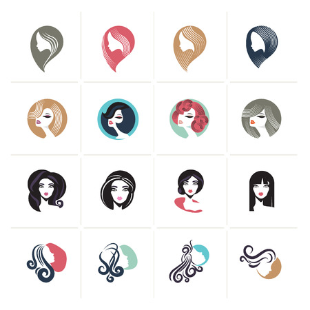 Set of flat design woman avatar icons and signs for beauty, fashion, cosmetics, spa and wellness, healthcare and natural products.