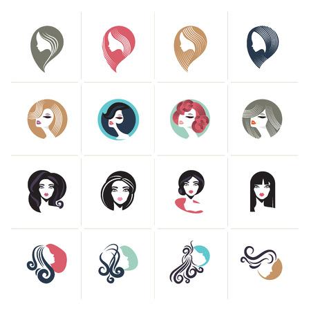 Set van pictogrammen van het vlakontwerpvrouw en symbolen voor schoonheid, mode, cosmetica, spa en wellness, gezondheidszorg en natuurlijke producten.