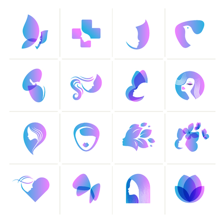 Set of flat design icons for  beauty, fashion, cosmetics, spa and wellness, healthcare and natural products