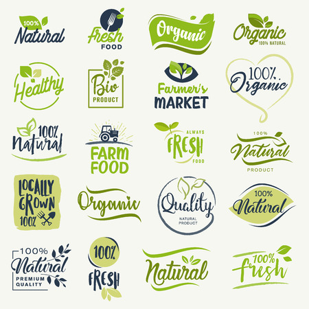 Organic food, farm fresh and natural product signs collection for food market, ecommerce, organic products promotion, healthy life and premium quality food and drink.