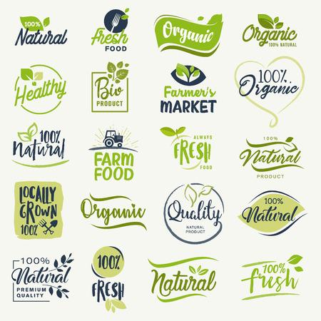 Bio-Lebensmittel, Bauernhof frische und natürliche Produkt Zeichen Sammlung für Lebensmittel-Markt, E-Commerce, Bio-Produkte Förderung, gesundes Leben und Premium-Qualität Essen und Trinken.