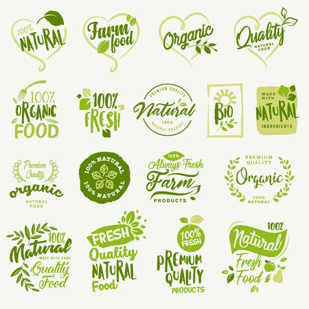 유기농 식품, 식품 시장, 전자 상거래, 유기농 제품 홍보, 건강한 삶과 고급 품질의 음식과 음료를위한 농장 신선하고 자연스러운 제품 스티커 및 라벨