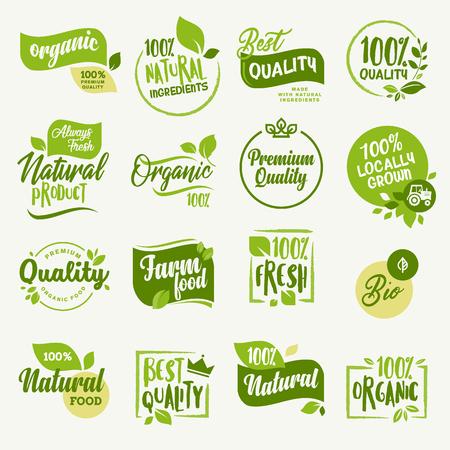 Alimentos orgânicos, produtos agrícolas frescos e adesivos de produtos naturais e coleção de crachás para o mercado de alimentos, ecommerce, promoção de produtos orgânicos, vida saudável e alimentos de qualidade superior e bebida. Foto de archivo - 82815606