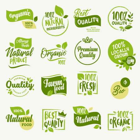 Bio-Lebensmittel, Bauernhof frische und natürliche Produkte Aufkleber und Abzeichen Sammlung für Lebensmittel-Markt, E-Commerce, Bio-Produkte Förderung, gesundes Leben und Premium-Qualität Essen und Trinken. Vektorgrafik