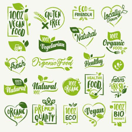 유기농 식품, 식품 시장, 전자 상거래, 유기농 제품 홍보, 건강한 삶과 고급 품질의 음식과 음료를위한 농장 신선하고 자연적인 제품 라벨 및 배지 컬렉