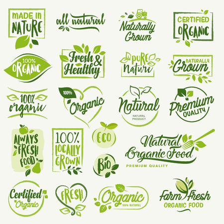 Organic food, farm fresh and natural product signs and elements collection for food market, ecommerce, organic products promotion, healthy life and premium quality food and drink. Vettoriali