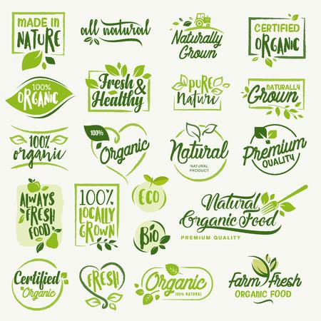 Biologisch voedsel, boerderij verse en natuurlijke producttekens en elementen verzamelen voor voedselmarkt, ecommerce, biologische producten promotie, gezond leven en premium kwaliteit eten en drinken. Stock Illustratie