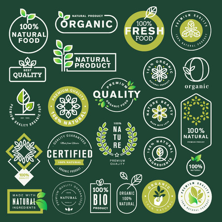 Organic food and drink icons and elements set Illustration