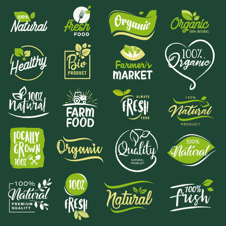 아이콘 및 유기농 음식 및 음료, 레스토랑, 식품 저장소, 자연 제품, 농장 신선한 음식, 전자 상거래, 건강 한 제품 홍보에 대 한 요소 집합.