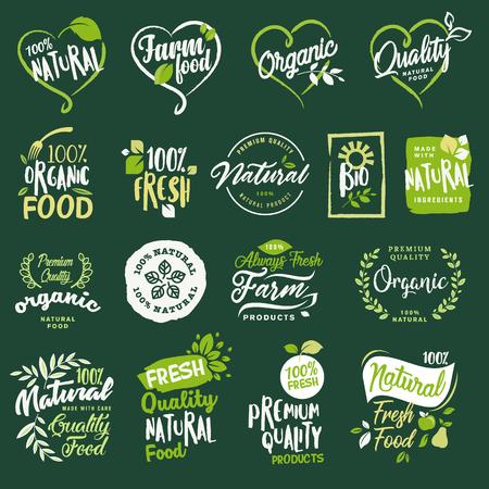 레이블 및 유기 음식과 음료, 레스토랑, 식품 저장소, 자연 제품, 농장 신선한 음식, 전자 상거래, 건강 한 제품 홍보에 대 한 요소 집합입니다.