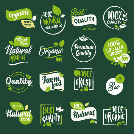 Set of stickers and badges for organic food and drink, restaurant, food store, natural products, farm fresh food,  e-commerce, healthy product promotion. Vectores