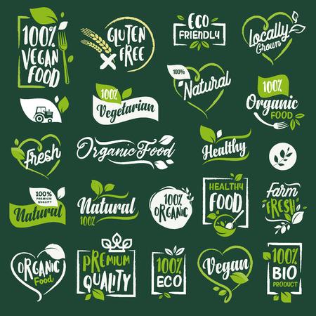 유기 음식과 음료, 레스토랑, 식품 저장소, 천연 제품, 농장 신선한 음식, 전자 상거래, 건강 제품 프로모션에 대 한 징후 및 요소 집합입니다. 일러스트