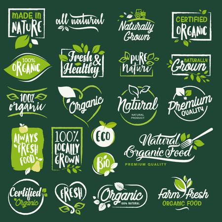 레이블 및 배지 유기 음식과 음료, 레스토랑, 식품 저장소, 자연 제품, 농장 신선한 음식, 전자 상거래, 건강 한 제품 홍보를위한 집합입니다. 일러스트