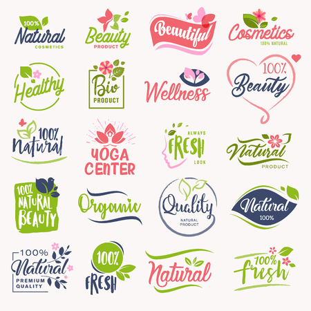 Set of beauty and cosmetics, spa and wellness signs. Vector illustration concepts for web design, packaging design, promotional material.
