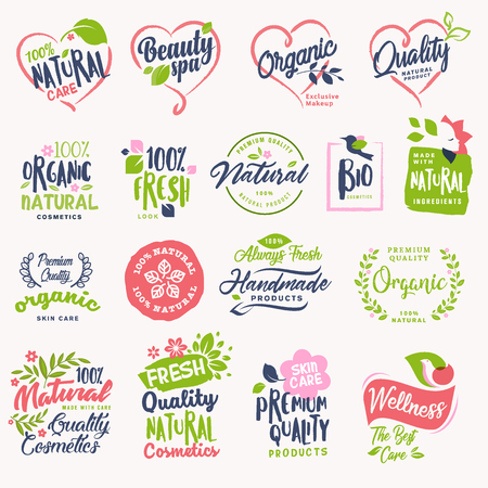 Set of beauty and cosmetics, spa and wellness badges and stickers. Vector illustration concepts for web design, packaging design, promotional material. Illustration