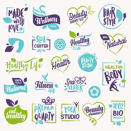 Conjunto de belleza y cosmética, spa y bienestar etiquetas y elementos. Conceptos de ilustración vectorial para diseño web, diseño de envases, material promocional. Foto de archivo - 83148447
