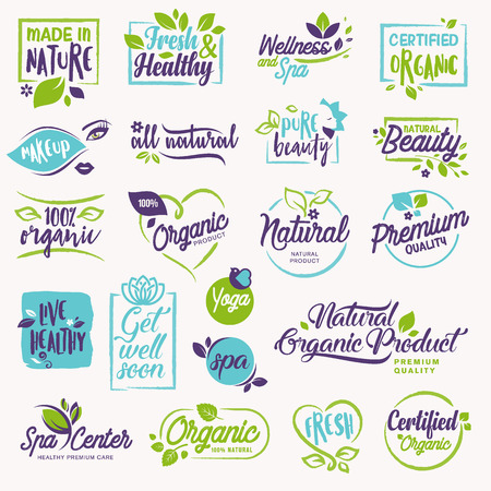 Set of beauty and cosmetics, spa and wellness stickers and elements. Vector illustration concepts for web design, packaging design, promotional material.