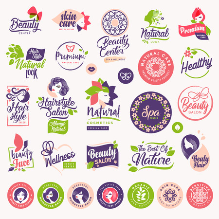 Set of beauty, natural cosmetics and healthcare labels and elements. Vector illustration concepts for web design, packaging design, promotional material.