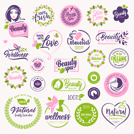Set of beauty, natural cosmetics and healthcare signs and elements. Vector illustration concepts for web design, packaging design, promotional material.