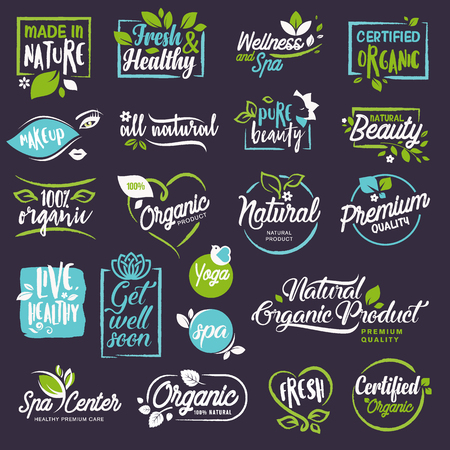 Cosmetics and beauty stickers and elements set. Vector illustrations for natural cosmetics, healthcare, organic products, spa, wellness, beauty and healthy life, body and skin care and makeup.