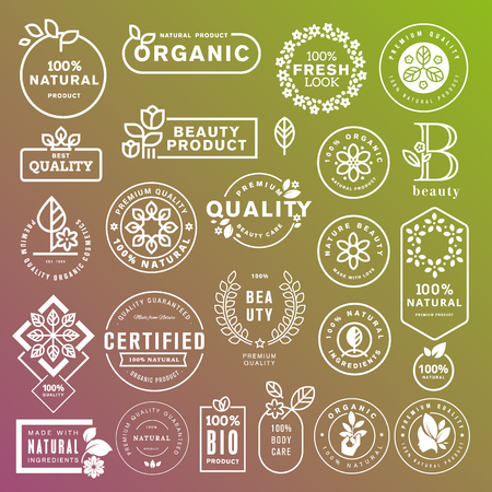 Collection of labels and stickers for natural cosmetics and beauty products. Vector illustrations on a stylized background, for cosmetics, healthcare, spa and wellness. Ilustracja