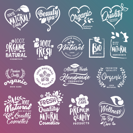 Collection of badges and stickers for natural cosmetics and beauty products. Vector illustrations on a stylized background, for cosmetics, healthcare, spa and wellness.