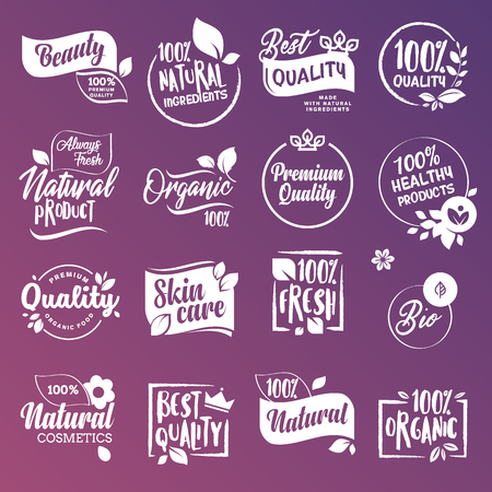 Collection of labels and badges for natural cosmetics and beauty products. Vector illustrations on a stylized background, for cosmetics, healthcare, spa and wellness.