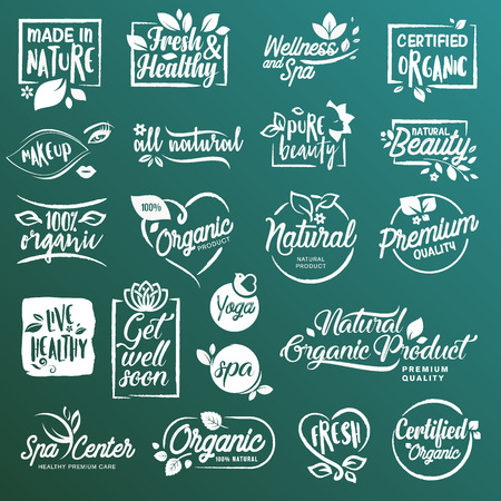 Collection of stickers and elements for natural cosmetics and beauty products. Vector illustrations on a stylized background, for cosmetics, healthcare, spa and wellness. Illustration