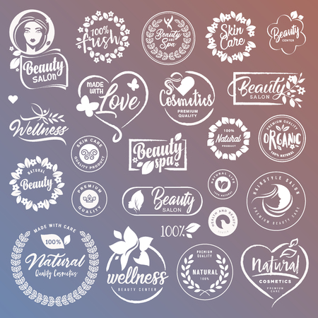 Collection de panneaux et d'éléments pour les cosmétiques naturels et les produits de beauté. Des illustrations vectorielles sur un fond stylisé, pour les cosmétiques, les soins de santé, le spa et le bien-être.