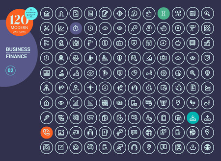 Collection of line icons for business, finance, banking, e-banking, online communication, office, management, social media, business streaming, marketing and strategy, internet security. Illustration