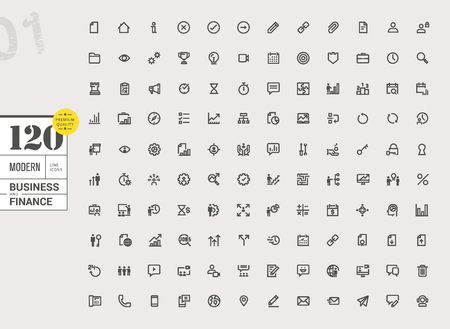 Modern business line icons set. Vector illustrations for business, finance, online communication, office, management, social media, business streaming, marketing and strategy, internet security.
