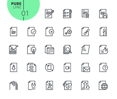 Set of text editing and document formatting icons. Modern outline web icons collection for web and app design and development. Premium quality vector illustration of thin line web symbols. Illustration